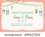 save the date invitation with... | Shutterstock .eps vector #309427331