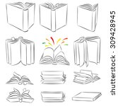 open books in different... | Shutterstock .eps vector #309428945