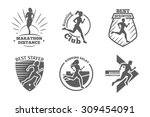 vintage running club vector... | Shutterstock .eps vector #309454091