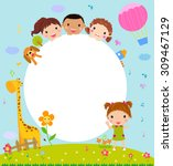 color frame with group of kids... | Shutterstock .eps vector #309467129