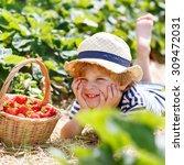 funny little toddler child... | Shutterstock . vector #309472031