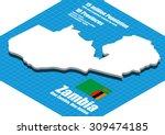 zambia map vector three... | Shutterstock .eps vector #309474185