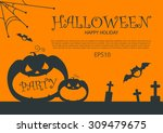 halloween party design template ... | Shutterstock .eps vector #309479675