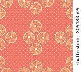 citrus seamless pattern. pink... | Shutterstock .eps vector #309483509