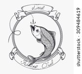 vector sketched fish  fishing... | Shutterstock .eps vector #309484619