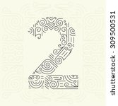 vector mono line style... | Shutterstock .eps vector #309500531
