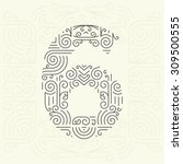 vector mono line style... | Shutterstock .eps vector #309500555