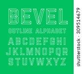 beveled outline alphabet.... | Shutterstock .eps vector #309514679
