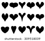 black silhouettes of heart on... | Shutterstock .eps vector #309518039