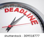 Stock photo clock with words deadline on its face 309518777