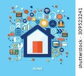 home concept design on blue...