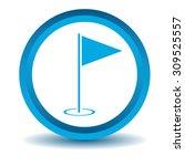golf flagstick icon  blue  3d ...