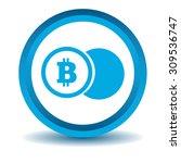 bitcoin coin icon  blue  3d ...