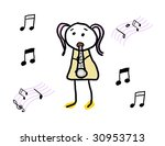 child enjoying her musical... | Shutterstock . vector #30953713