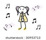 child enjoying her musical... | Shutterstock . vector #30953713