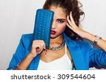 indoor fashion autumn  portrait ... | Shutterstock . vector #309544604