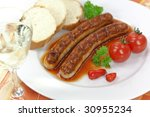 sausage with tomato ketchup and ... | Shutterstock . vector #30955234