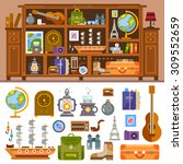 travelers's cupboard with books ...   Shutterstock .eps vector #309552659