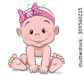 Cute Cartoon Baby Girl Isolate...