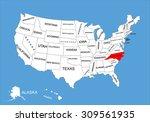 north carolina state  usa ... | Shutterstock .eps vector #309561935