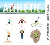 athletic vector set with... | Shutterstock .eps vector #309571181