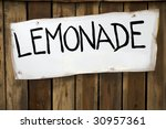 lemonade sign on a wooded stand | Shutterstock . vector #30957361