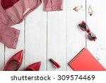 voyage concept   set of woman... | Shutterstock . vector #309574469