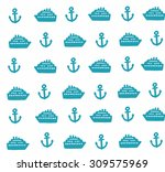 simple pattern with anchors and ... | Shutterstock .eps vector #309575969