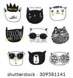 cute cat illustration series | Shutterstock .eps vector #309581141
