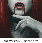 beautiful vampire woman  close... | Shutterstock . vector #309604679