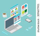 isometric design vector... | Shutterstock .eps vector #309607901