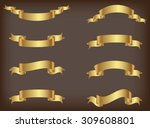 ribbon banner set.golden... | Shutterstock .eps vector #309608801
