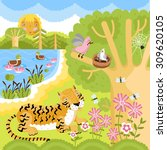 wild animals on the forest....   Shutterstock .eps vector #309620105