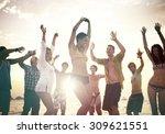 people celebration beach party... | Shutterstock . vector #309621551
