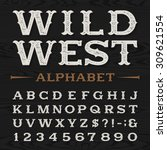 Western style retro distressed alphabet font. Serif type dirty letters, numbers and symbols on a dark wood textured background. Vintage vector typography for labels, headlines, posters etc. - stock vector