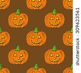 sketch of carved pumpkin in... | Shutterstock .eps vector #309623561