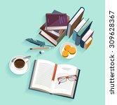 reading books. flat design. | Shutterstock .eps vector #309628367