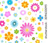 seamless flowers background   Shutterstock .eps vector #309633095