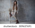 fashionable woman with long... | Shutterstock . vector #309637691