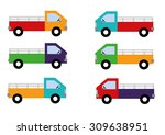 colorful truck set vector | Shutterstock .eps vector #309638951