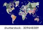detailed map of the world in... | Shutterstock . vector #309648389