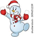 smiling cartoon snowman. vector ... | Shutterstock .eps vector #309651239