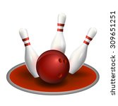 bowling three pins and red ball.... | Shutterstock .eps vector #309651251