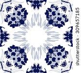 circular   pattern of  floral... | Shutterstock . vector #309657185