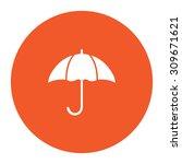 umbrella. flat white symbol in...
