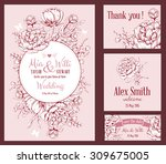vector floral frame set for... | Shutterstock .eps vector #309675005