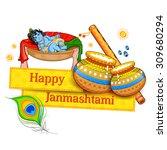 illustration of lord krishana... | Shutterstock .eps vector #309680294