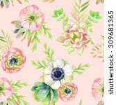 watercolor seamless pattern... | Shutterstock . vector #309681365