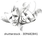 theatre masks | Shutterstock .eps vector #309682841