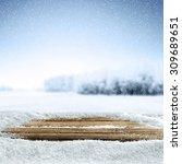 Xmas Wooden Desk White Snow An...